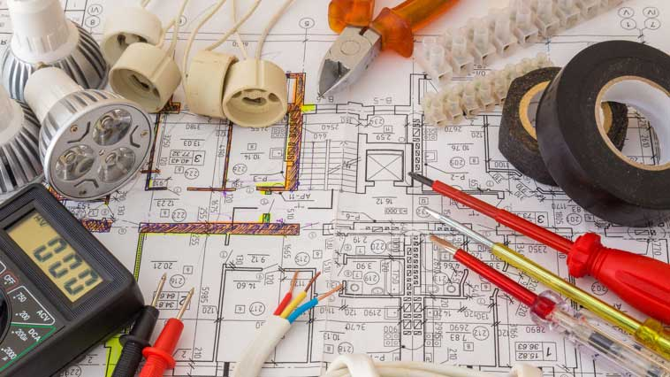 Electrician equipment and technical diagrams.