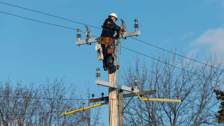 Electrical-power line repairer works on power-line pole.
